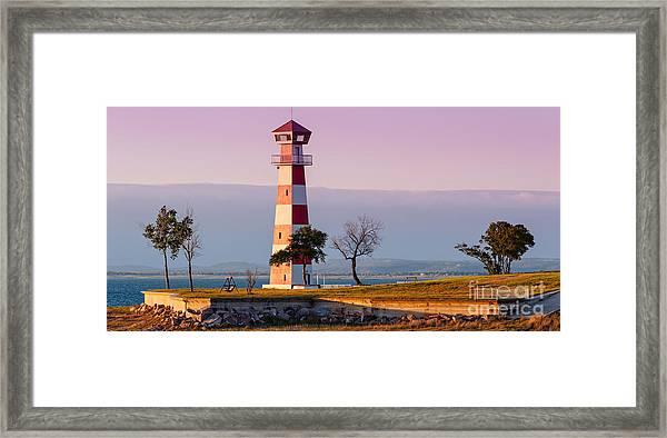 Lake Buchanan Lighthouse In Golden Hour Sunset Light - Texas Hill Country Framed Print