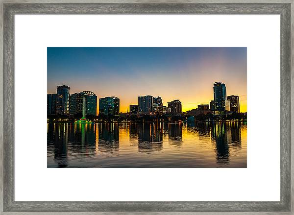 Lake Eola Sunset Framed Print