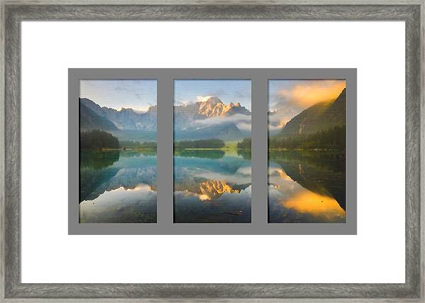 Lake Fusine In Triptych Framed Print