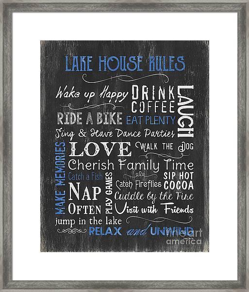 Lake House Rules Framed Print