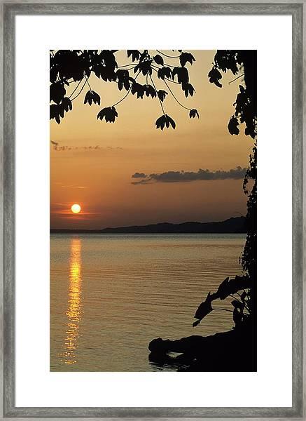 Lake Lago And Sunset Framed Print