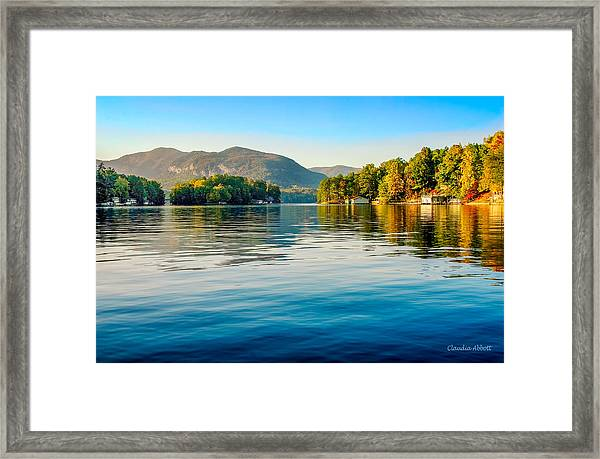 Framed Print featuring the photograph Lake Lure On A Calm Fall Morning by Claudia Abbott
