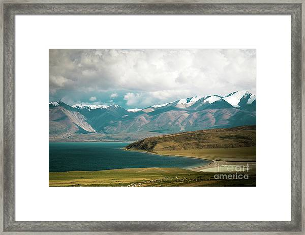 Framed Print featuring the photograph Lake Manasarovar Kailas Yantra.lv Tibet by Raimond Klavins