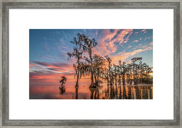 Lake Maurepas On Fire Framed Print