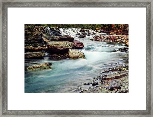 Lake Mcdonald Falls, Glacier National Park, Montana Framed Print