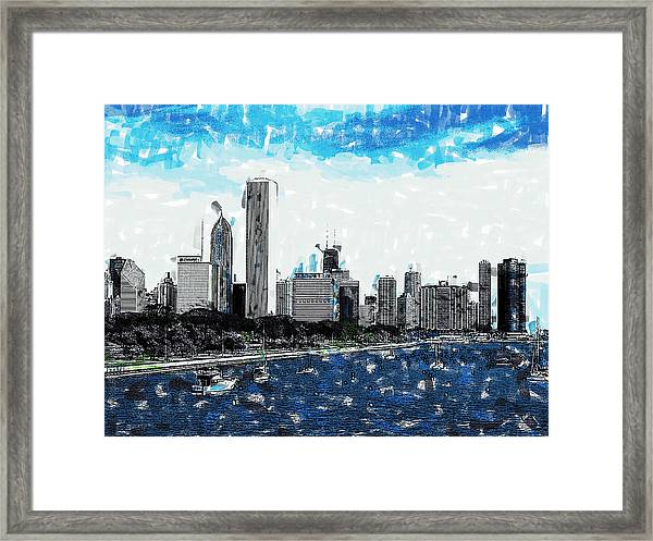 Lake Michigan And The Chicago Skyline Framed Print
