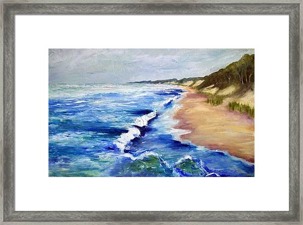 Lake Michigan Beach With Whitecaps Framed Print