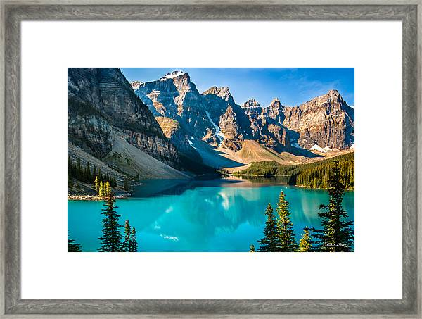 Framed Print featuring the photograph Lake Moraine Valley Of Ten Peaks by Claudia Abbott