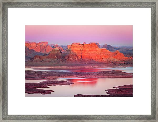 Lake Powell Sunset Mesa Framed Print
