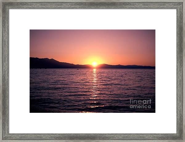 Lake Sunset 8pm Framed Print