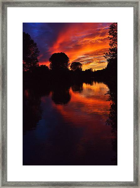 Lake Sunset Reflections Framed Print