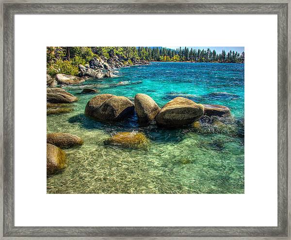 Lake Tahoe Beach And Granite Boulders Framed Print