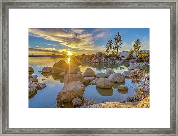 Lake Tahoe Spring Starburst Framed Print