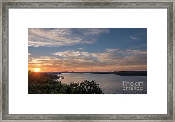 Lake Travis During Sunset With Clouds In The Sky Framed Print
