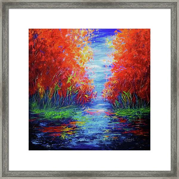 Olena Art Lake View Abstract Artwork Framed Print