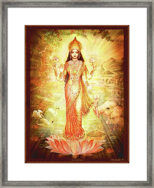 Lakshmi Goddess Of Fortune Framed Print by Ananda Vdovic
