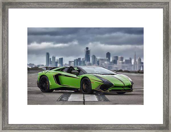 #lamborghini #aventadorsv #superveloce #roadster #print Framed Print