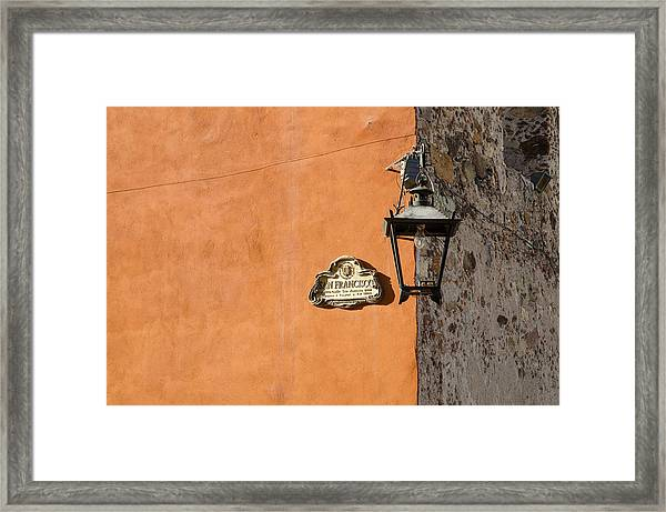 Lamp At The Corner. Framed Print