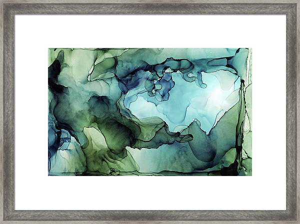 Land And Water Abstract Ink Painting Framed Print