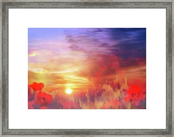 Landscape Of Dreaming Poppies Framed Print