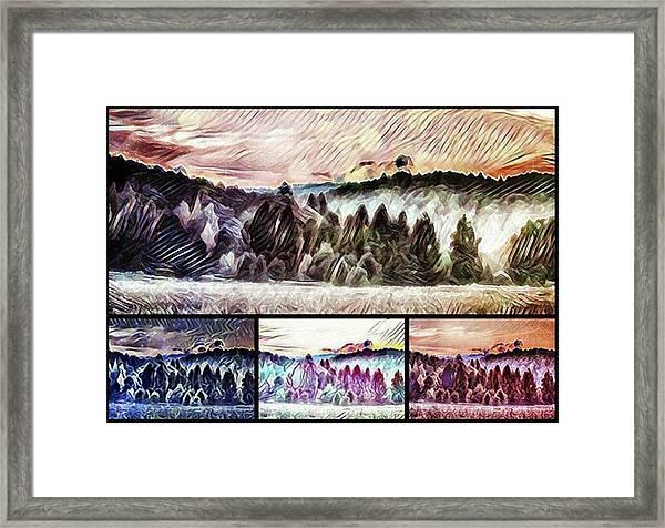 #landscape #sunset #psychedelic Framed Print by Michal Dunaj