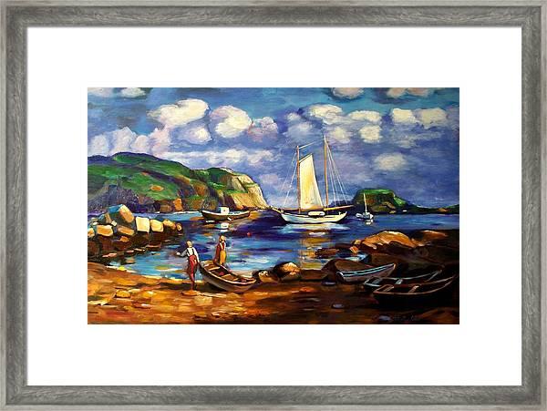 Landscape With Boats Framed Print