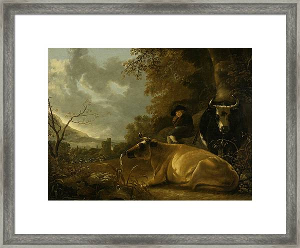 Landscape With Cows And Young Herdsman Framed Print