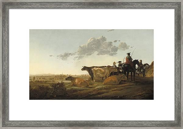 Landscape With Herdsmen Framed Print