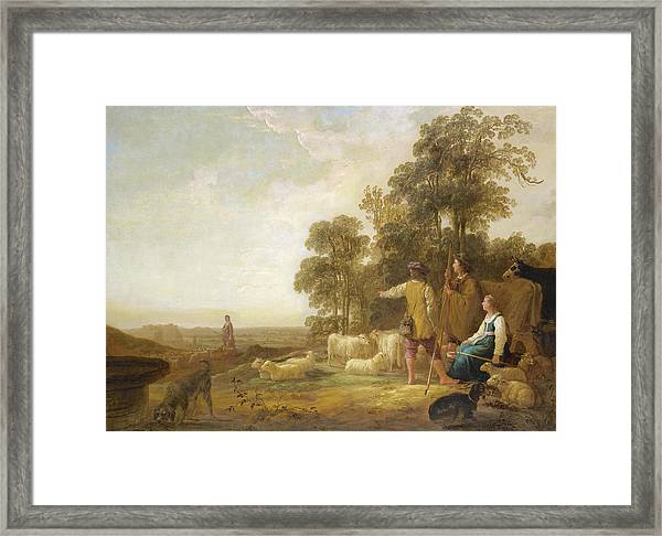 Landscape With Shepherds And Shepherdesses Near A Well Framed Print