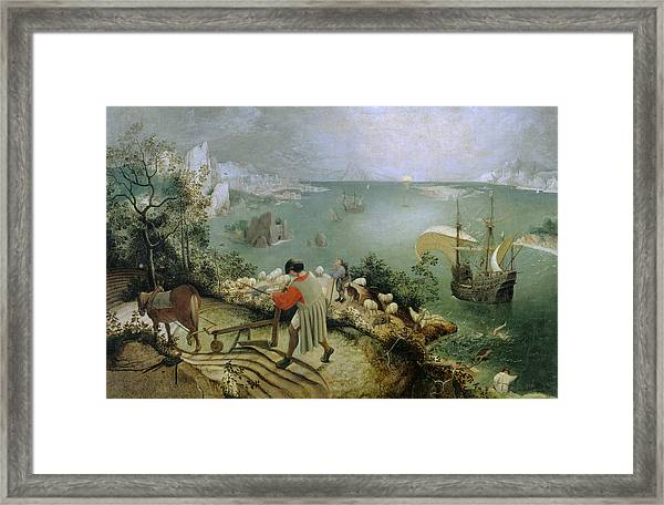 Landscape With The Fall Of Icarus Framed Print