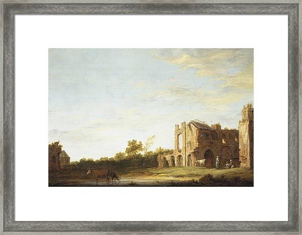 Landscape With The Ruins Of Rijnsburg Abbey Framed Print