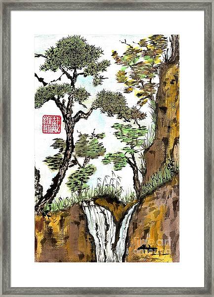 Landscape With Waterfall And Pine Framed Print