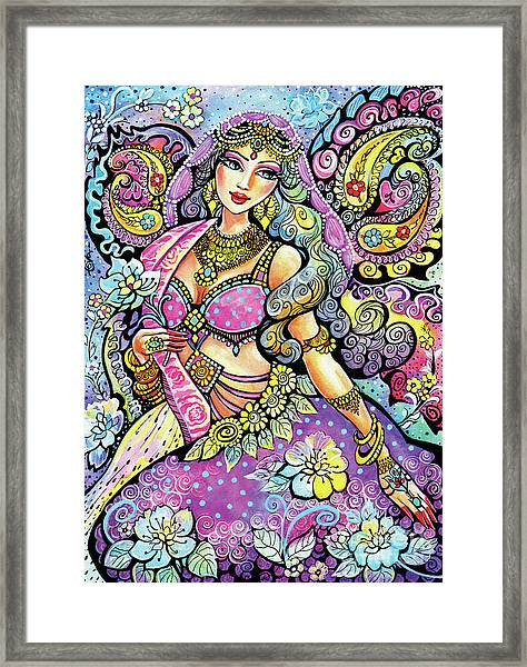 Purple Paisley Flower  Framed Print