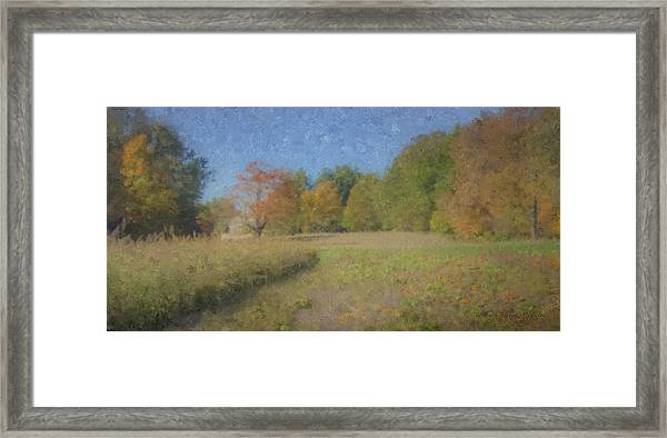 Langwater Farm With Pumpkins And Chateau Framed Print