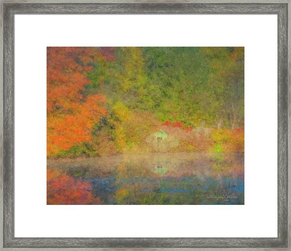 Langwater Pond Boathouse October 2015 Framed Print