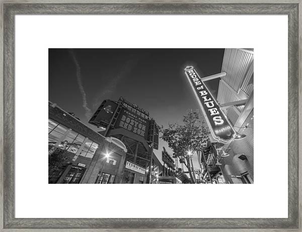 Lansdowne Street Fenway Park House Of Blues Boston Ma Black And White Framed Print