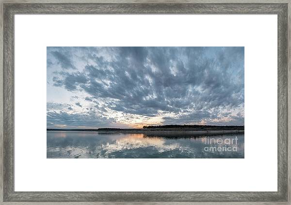 Large Panorama Of Storm Clouds Reflecting On Large Lake At Sunse Framed Print
