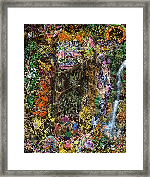 Framed Print featuring the painting Las Nalpeas Del Renaco  by Pablo Amaringo