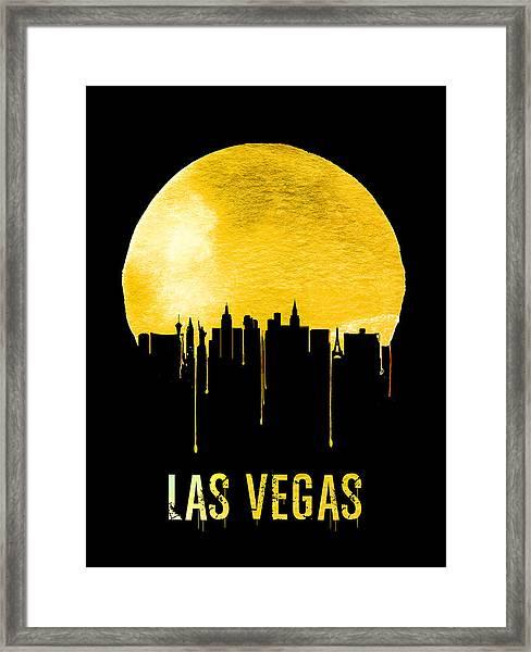 Las Vegas Skyline Yellow Framed Print