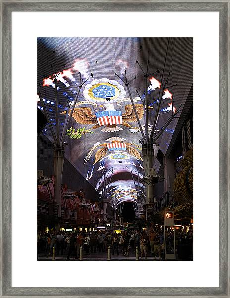 Las Vegas Street Light Show Framed Print
