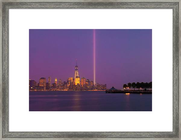 Laser Twin Towers In New York City Framed Print