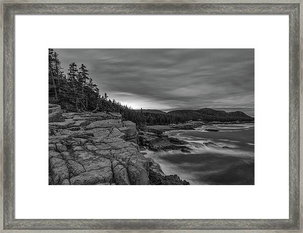Last Light At Otter Cliff Framed Print
