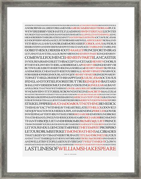 Last Lines Of The Plays Of William Shakespeare Framed Print
