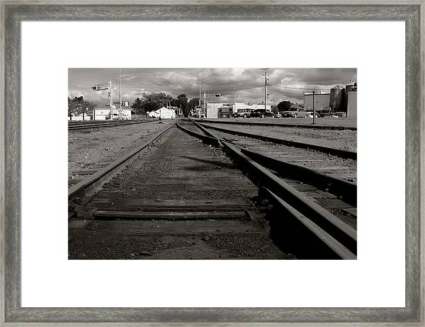 Framed Print featuring the photograph Last Train Track Out by Lorraine Devon Wilke