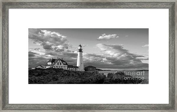 Late Afternoon Clouds, Portland Head Light  -98461 Framed Print