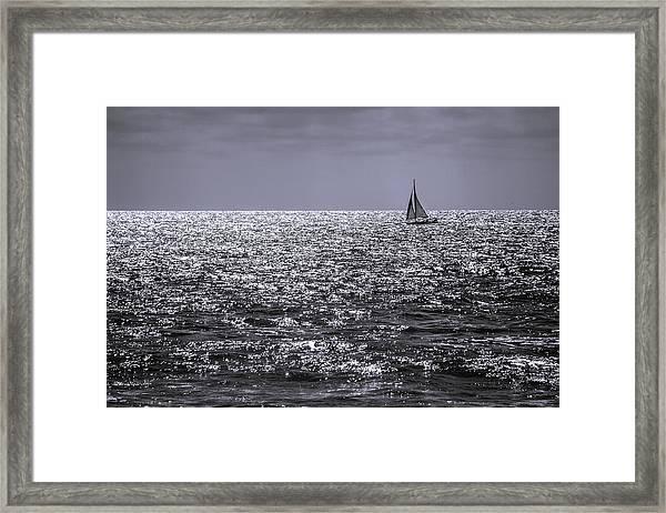 Sailboat Off The Coast At San Diego Framed Print