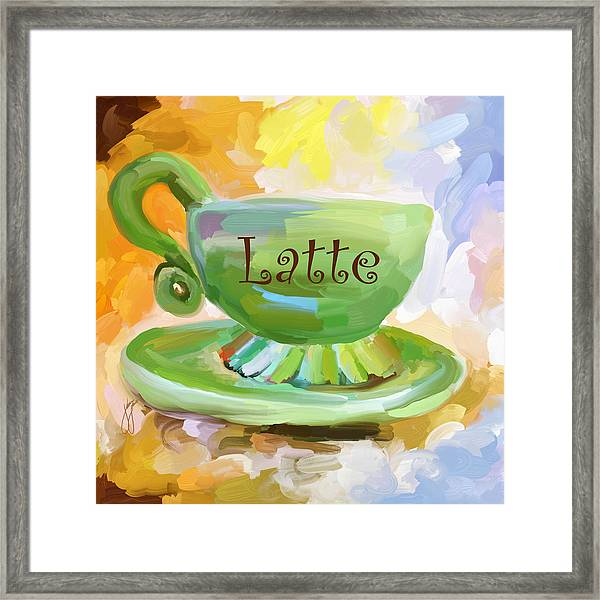 Latte Coffee Cup Framed Print