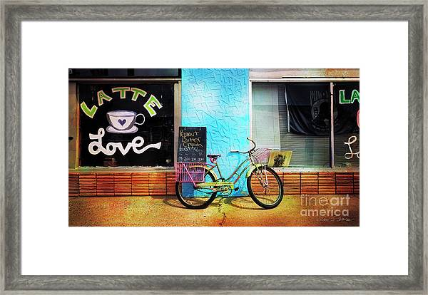 Latte Love Bicycle Framed Print
