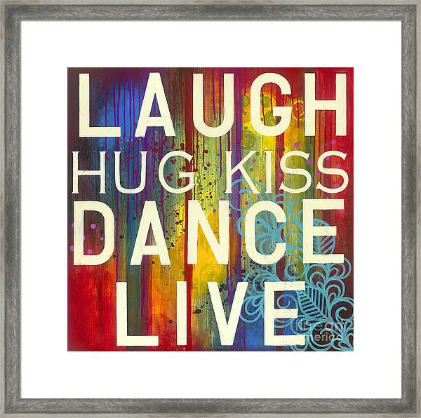 Framed Print featuring the painting Laugh Hug Kiss Dance Live by Carla Bank