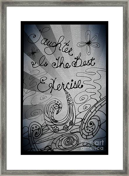 Framed Print featuring the drawing Laughter Is The Best Exercise by Rachel Maynard